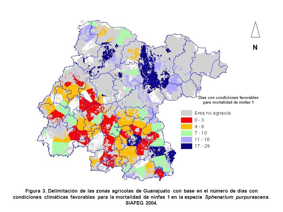 N Figura 3. Delimitación de las zonas agrícolas de Guanajuato con base en el número de días con condiciones climáticas favorables para la mortalidad d