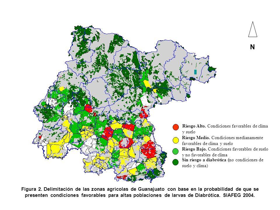 Figura 2. Delimitación de las zonas agrícolas de Guanajuato con base en la probabilidad de que se presenten condiciones favorables para altas poblacio