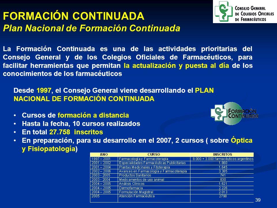 40 ATENCIÓN FARMACÉUTICA Plan Estratégico para el Desarrollo de la Atención Farmacéutica El Consejo General y los Colegios Oficiales de Farmacéuticos puso en marcha, en el año 2002 y con recursos propios, un Plan Estratégico para extender y generalizar la práctica de la Atención Farmacéutica en las oficinas de farmacia Acciones del Plan Estratégico: Dispensación: Dispensación en Estatinas (4.500 inscritos) Indicación Farmacéutica: Indicación Farmacéutica en Resfriado (5.200 inscritos) e Indicación Farmacéutica en Deshabituación tabáquica (4.200 inscritos) Seguimiento Farmacoterapéutico: Seguimiento Farmacoterapéutico a pacientes hipertensos con algún factor de riesgo cardiovascular asociado, y dispensación de antihipertensivos (IECA y ARAII) (4.000 inscritos)