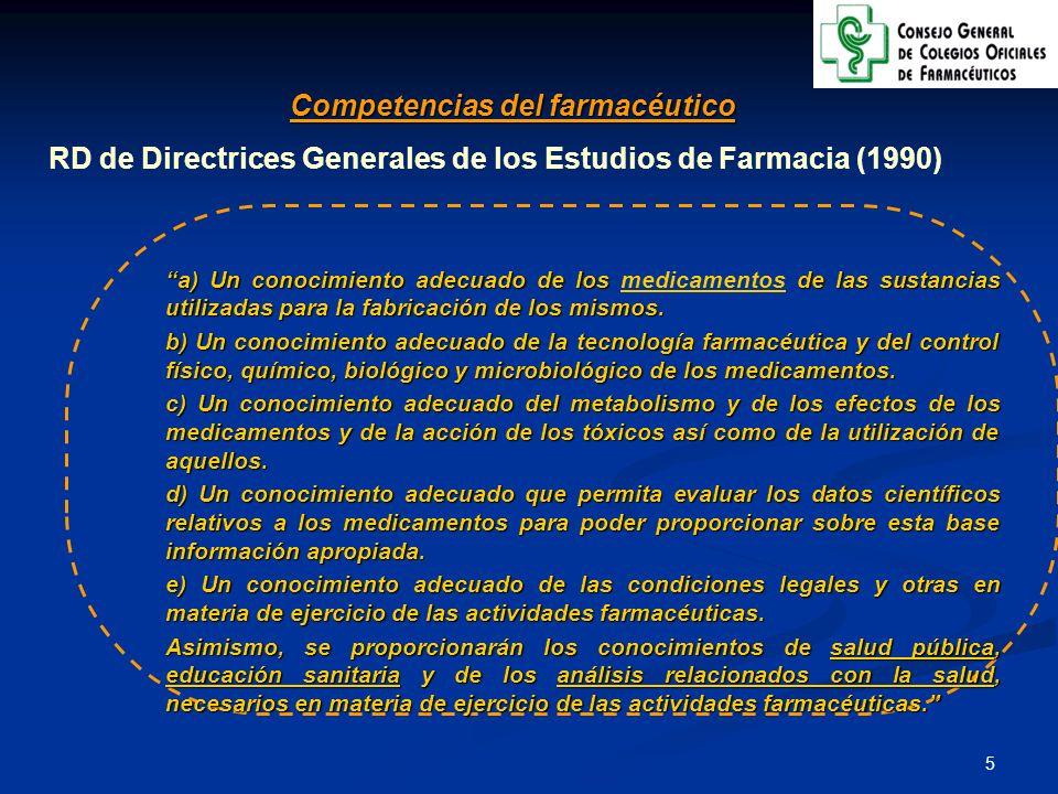 6 Competencias del farmacéutico Ley de Ordenación de las Profesiones Sanitarias (2003) Actividades dirigidas a la producción, conservación y dispensación de los medicamentos, así como la colaboración en los procesos analíticos, farmacoterapéuticos y de vigilancia de la salud pública
