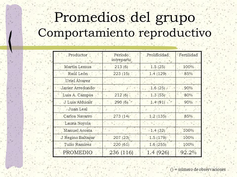 Promedios del grupo Comportamiento reproductivo ProductorPeriodo intreparto ProlificidadFertilidad Martín Lemus213 (6)1.5 (25)100% Raúl León223 (15)1.