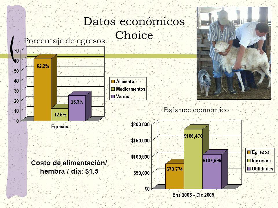 Datos económicos Choice Costo de alimentación/ hembra / día: $1.5 Porcentaje de egresos Balance económico