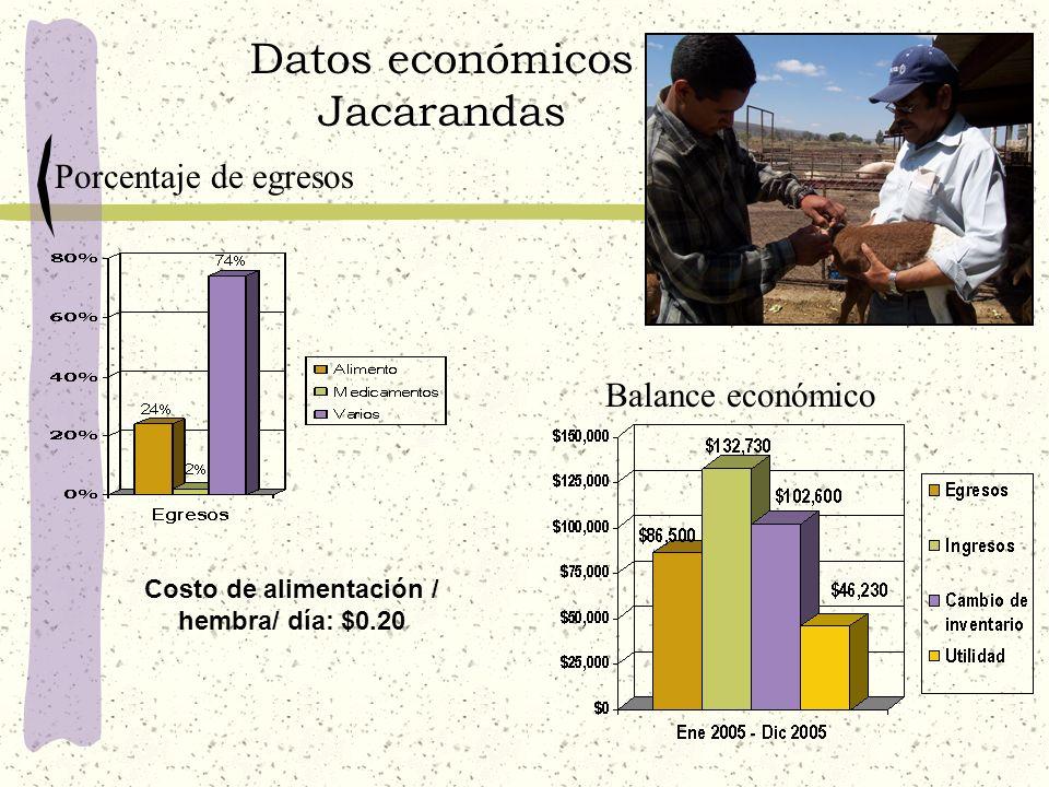 Datos económicos Jacarandas Costo de alimentación / hembra/ día: $0.20 Balance económico Porcentaje de egresos