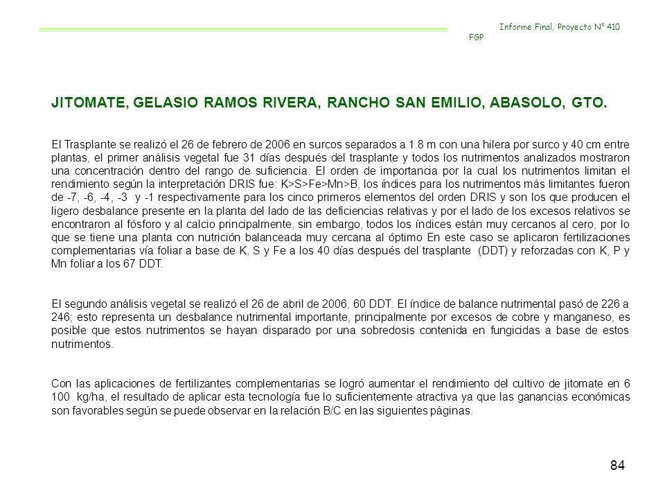 84 JITOMATE, GELASIO RAMOS RIVERA, RANCHO SAN EMILIO, ABASOLO, GTO. El Trasplante se realizó el 26 de febrero de 2006 en surcos separados a 1.8 m con