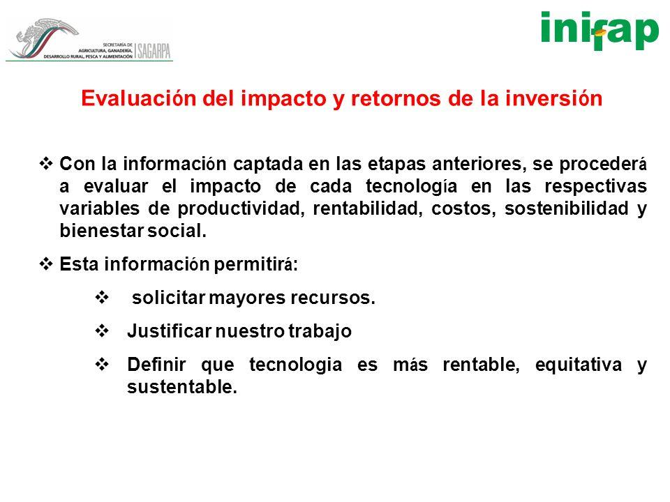 Evaluaci ó n del impacto y retornos de la inversi ó n Con la informaci ó n captada en las etapas anteriores, se proceder á a evaluar el impacto de cad
