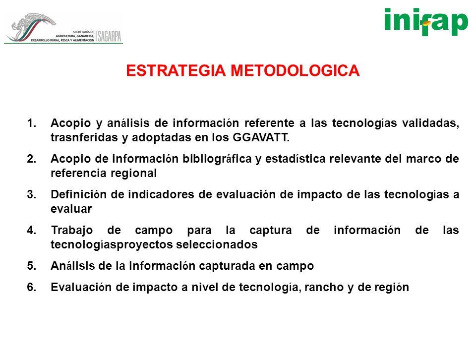 ESTRATEGIA METODOLOGICA 1.Acopio y an á lisis de informaci ó n referente a las tecnolog í as validadas, trasnferidas y adoptadas en los GGAVATT. 2.Aco