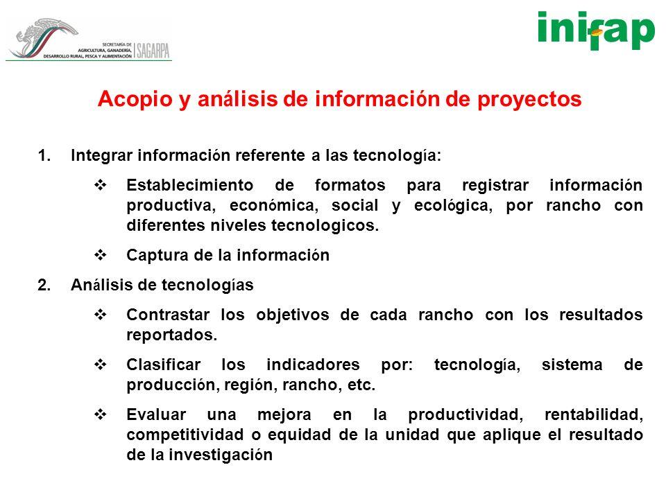 Acopio y an á lisis de informaci ó n de proyectos 1.Integrar informaci ó n referente a las tecnolog í a: Establecimiento de formatos para registrar in