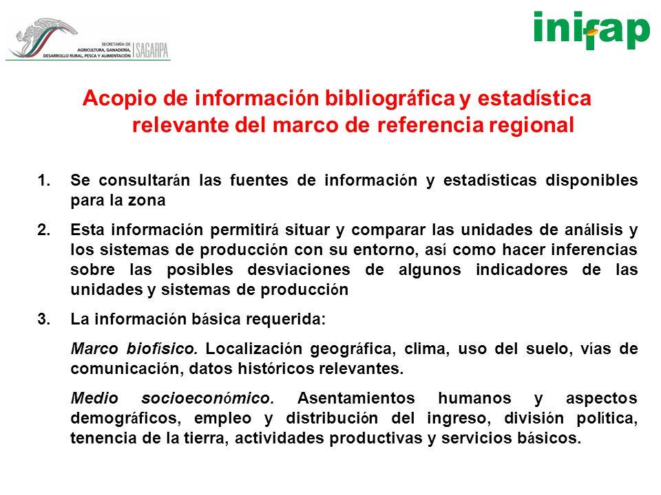Acopio de informaci ó n bibliogr á fica y estad í stica relevante del marco de referencia regional 1.Se consultar á n las fuentes de informaci ó n y e