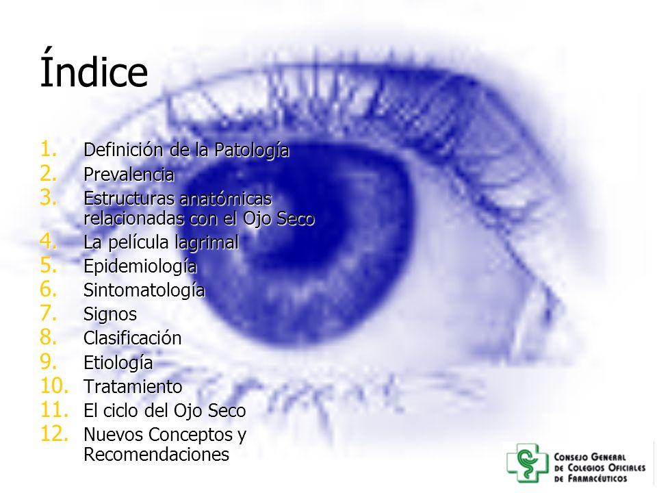 Índice 1. Definici ó n de la Patolog í a 2. Prevalencia 3. Estructuras anat ó micas relacionadas con el Ojo Seco 4. La pel í cula lagrimal 5. Epidemio