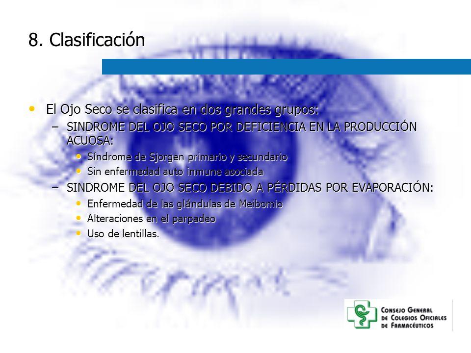 8. Clasificación El Ojo Seco se clasifica en dos grandes grupos: El Ojo Seco se clasifica en dos grandes grupos: –SINDROME DEL OJO SECO POR DEFICIENCI