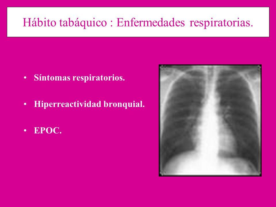 Hábito tabáquico : Enfermedades respiratorias. Síntomas respiratorios. Hiperreactividad bronquial. EPOC.