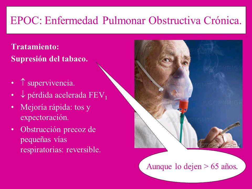 EPOC: Enfermedad Pulmonar Obstructiva Crónica. Tratamiento: Supresión del tabaco. supervivencia. pérdida acelerada FEV 1 Mejoría rápida: tos y expecto
