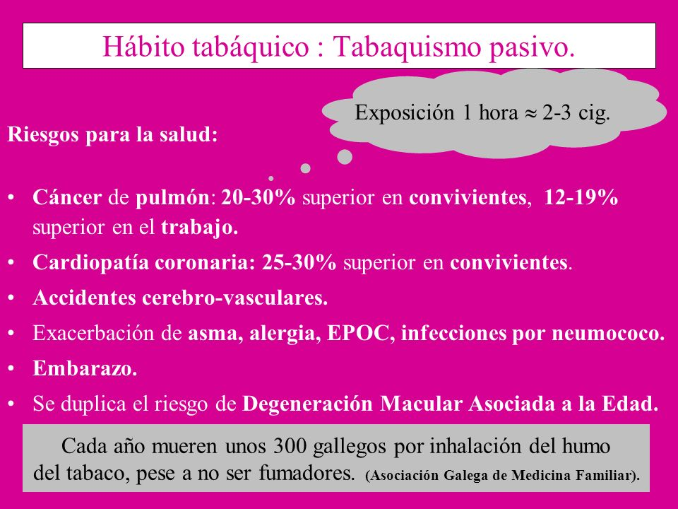 Hábito tabáquico : Tabaquismo pasivo. Riesgos para la salud: Cáncer de pulmón: 20-30% superior en convivientes, 12-19% superior en el trabajo. Cardiop