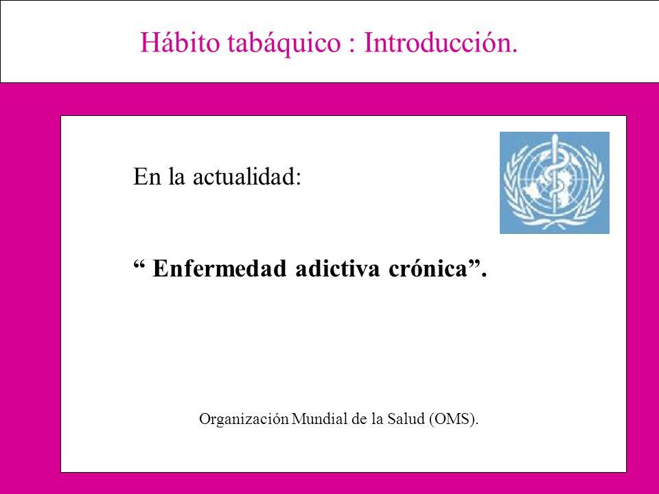 Hábito tabáquico : Introducción. En la actualidad: Enfermedad adictiva crónica. Organización Mundial de la Salud (OMS).