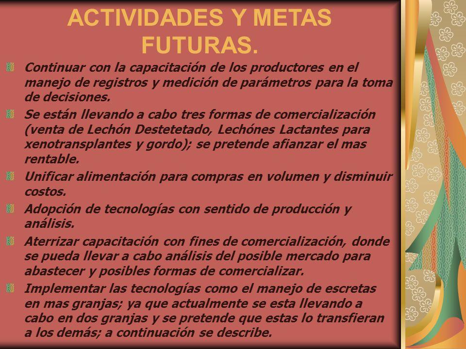 ACTIVIDADES Y METAS FUTURAS. Continuar con la capacitación de los productores en el manejo de registros y medición de parámetros para la toma de decis