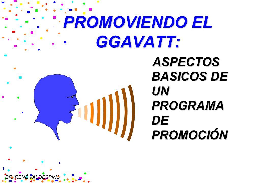 DR. RENÉ VALDESPINO PROMOVIENDO EL GGAVATT: ASPECTOS BASICOS DE UN PROGRAMA DE PROMOCIÓN ASPECTOS BASICOS DE UN PROGRAMA DE PROMOCIÓN