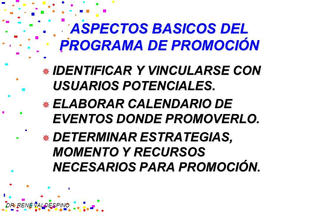 DR. RENÉ VALDESPINO ASPECTOS BASICOS DEL PROGRAMA DE PROMOCIÓN IDENTIFICAR Y VINCULARSE CON USUARIOS POTENCIALES. IDENTIFICAR Y VINCULARSE CON USUARIO