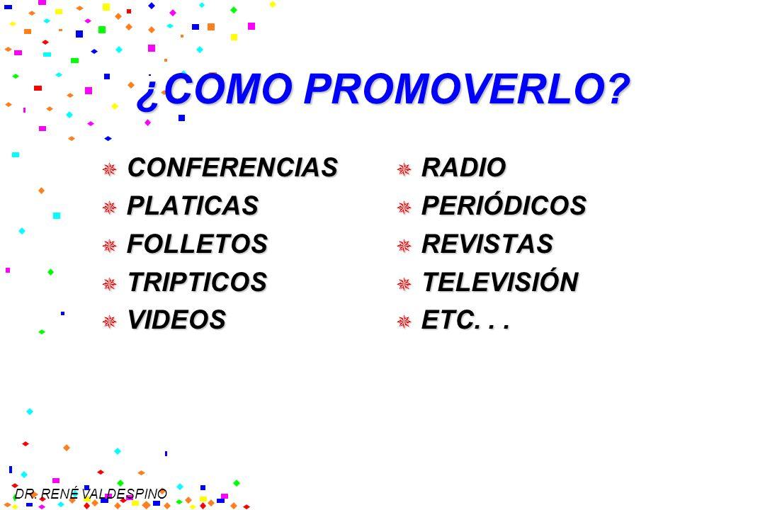 DR. RENÉ VALDESPINO ¿COMO PROMOVERLO? CONFERENCIAS CONFERENCIAS PLATICAS PLATICAS FOLLETOS FOLLETOS TRIPTICOS TRIPTICOS VIDEOS VIDEOS RADIO RADIO PERI