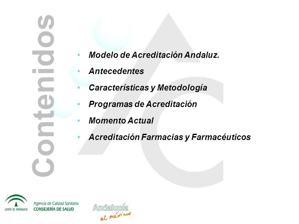 Contenidos Modelo de Acreditación Andaluz. Antecedentes Características y Metodología Programas de Acreditación Momento Actual Acreditación Farmacias