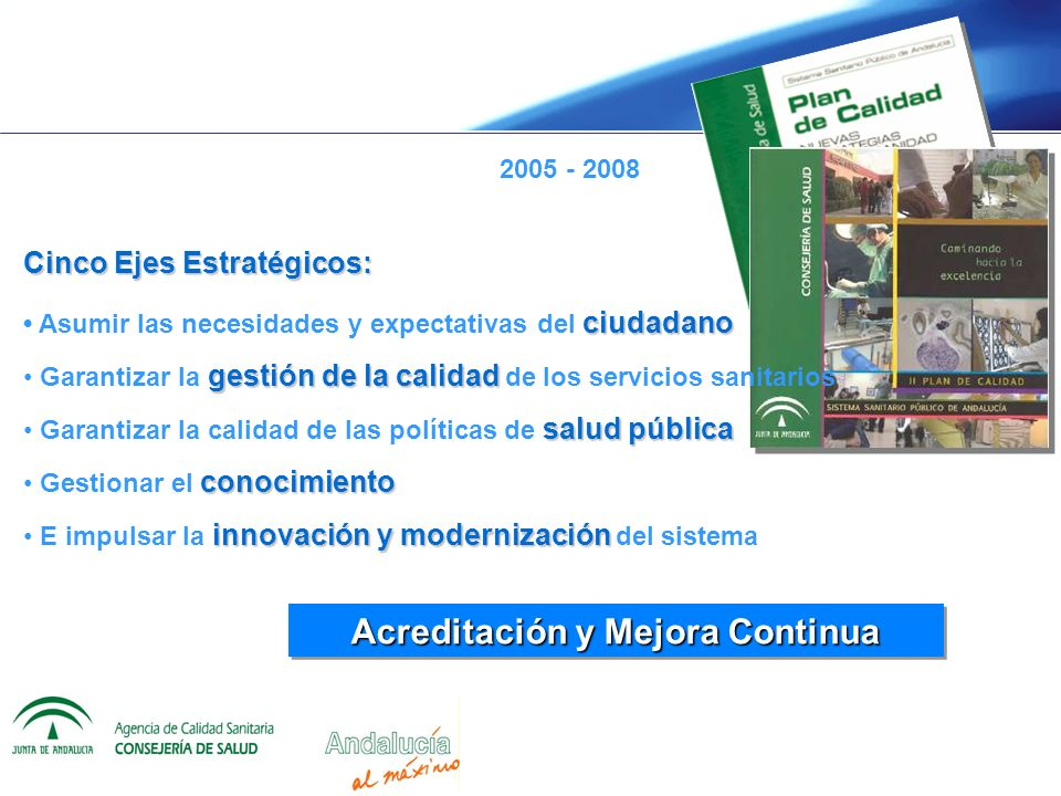 Acreditación y Mejora Continua 2005 - 2008 Cinco Ejes Estratégicos: ciudadano Asumir las necesidades y expectativas del ciudadano gestión de la calida