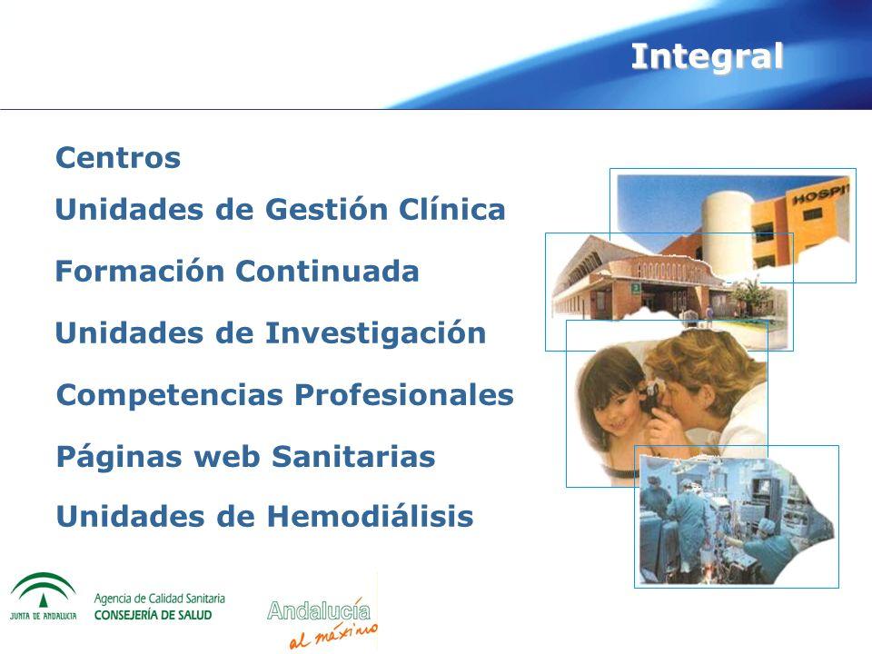 Unidades de Gestión Clínica Competencias Profesionales Formación Continuada Centros Unidades de Investigación Páginas web Sanitarias Integral Unidades