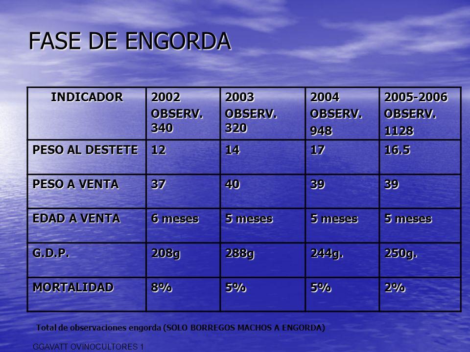 FASE DE ENGORDA INDICADOR2002 OBSERV. 340 2003 OBSERV. 320 2004OBSERV.9482005-2006OBSERV.1128 PESO AL DESTETE 12141716.5 PESO A VENTA 37403939 EDAD A