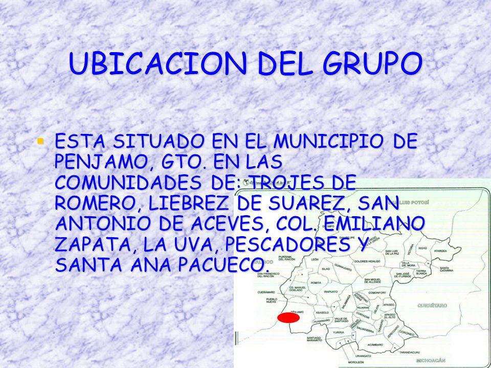 UBICACION DEL GRUPO ESTA SITUADO EN EL MUNICIPIO DE PENJAMO, GTO.