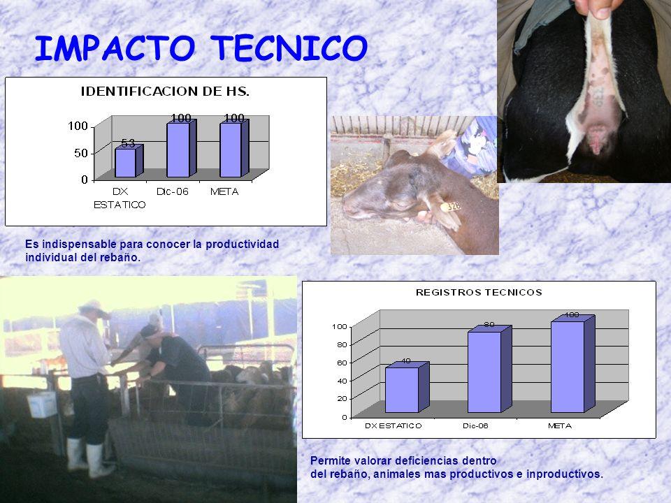 IMPACTO TECNICO Es indispensable para conocer la productividad individual del rebaño.