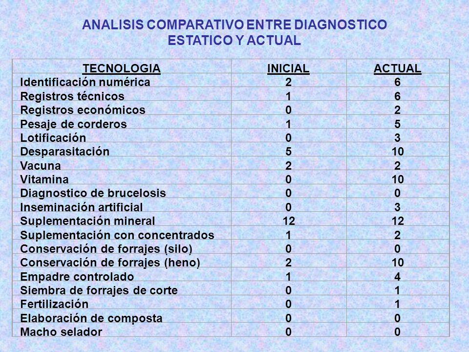 ANALISIS COMPARATIVO ENTRE DIAGNOSTICO ESTATICO Y ACTUAL TECNOLOGIAINICIALACTUAL Identificación numérica26 Registros técnicos16 Registros económicos02