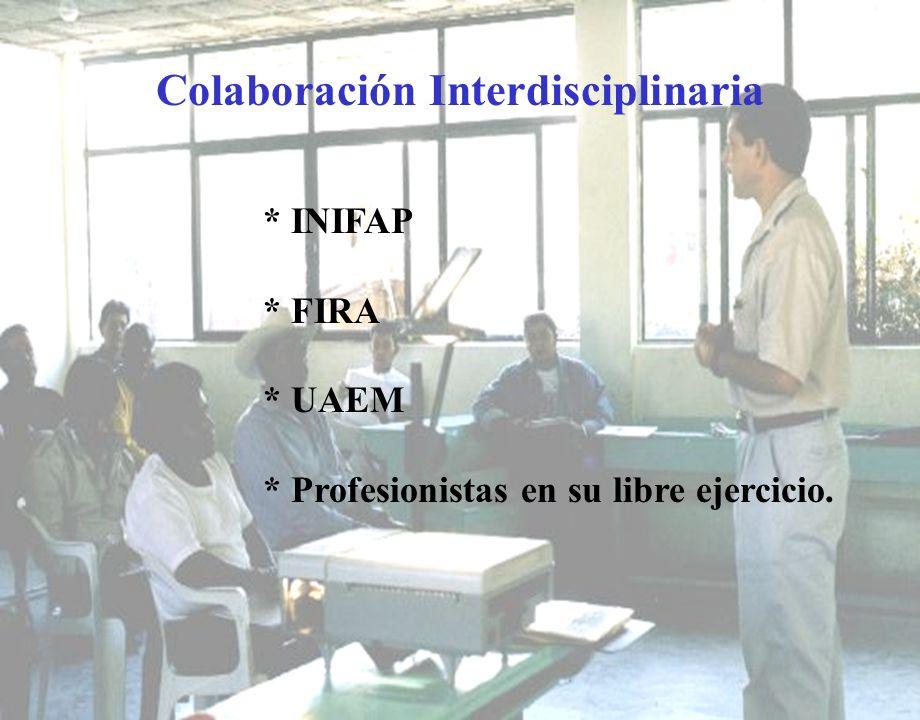 Colaboración Interdisciplinaria * INIFAP * FIRA * UAEM * Profesionistas en su libre ejercicio.