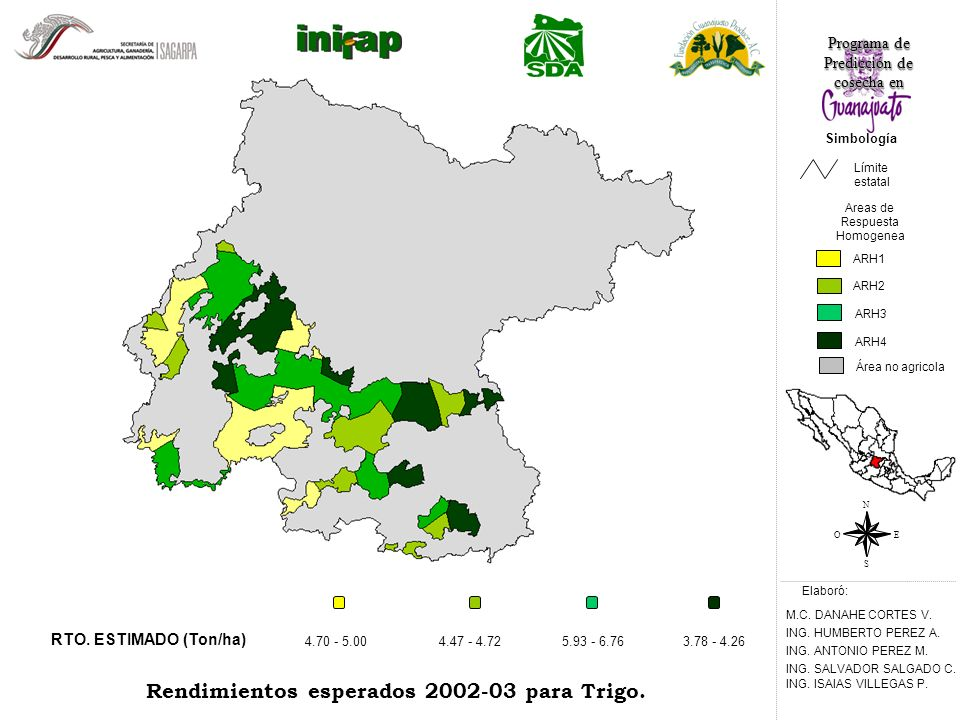 RTO. ESTIMADO (Ton/ha) 4.47 - 4.725.93 - 6.763.78 - 4.26 Rendimientos esperados 2002-03 para Trigo.