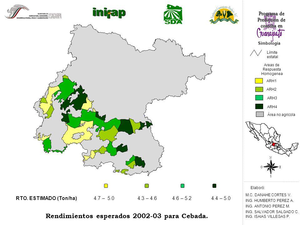 4.3 – 4.64.6 – 5.24.4 – 5.0 Rendimientos esperados 2002-03 para Cebada.