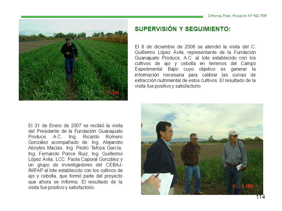114 El 8 de diciembre de 2006 se atendió la visita del C. Guillermo López Ávila, representante de la Fundación Guanajuato Produce, A.C. al lote establ