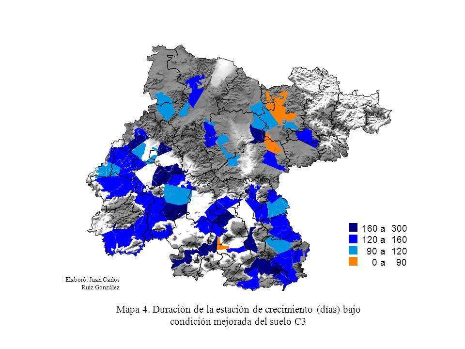 160 to a 300 120 to a 160 90 to a 120 0 0 0 0 0 0 0 0 0 to a 90 Elaboró: Juan Carlos Ruiz González Mapa 4. Duración de la estación de crecimiento (día