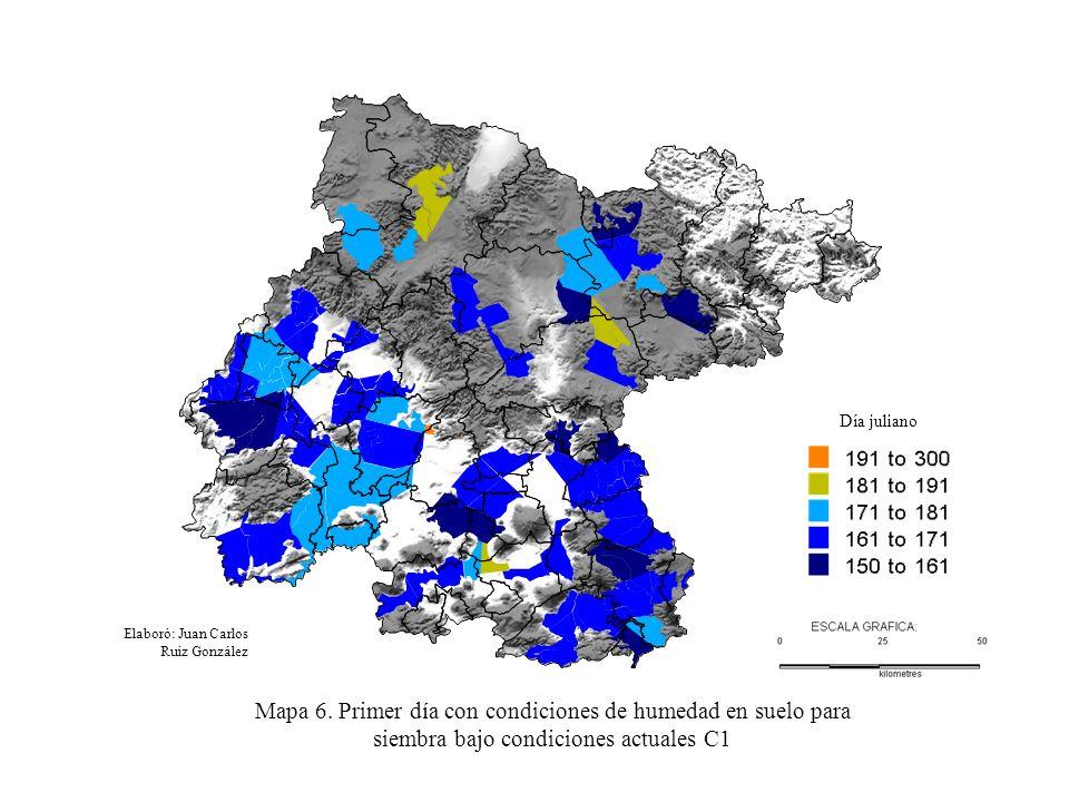 Elaboró: Juan Carlos Ruiz González Mapa 6. Primer día con condiciones de humedad en suelo para siembra bajo condiciones actuales C1 Día juliano