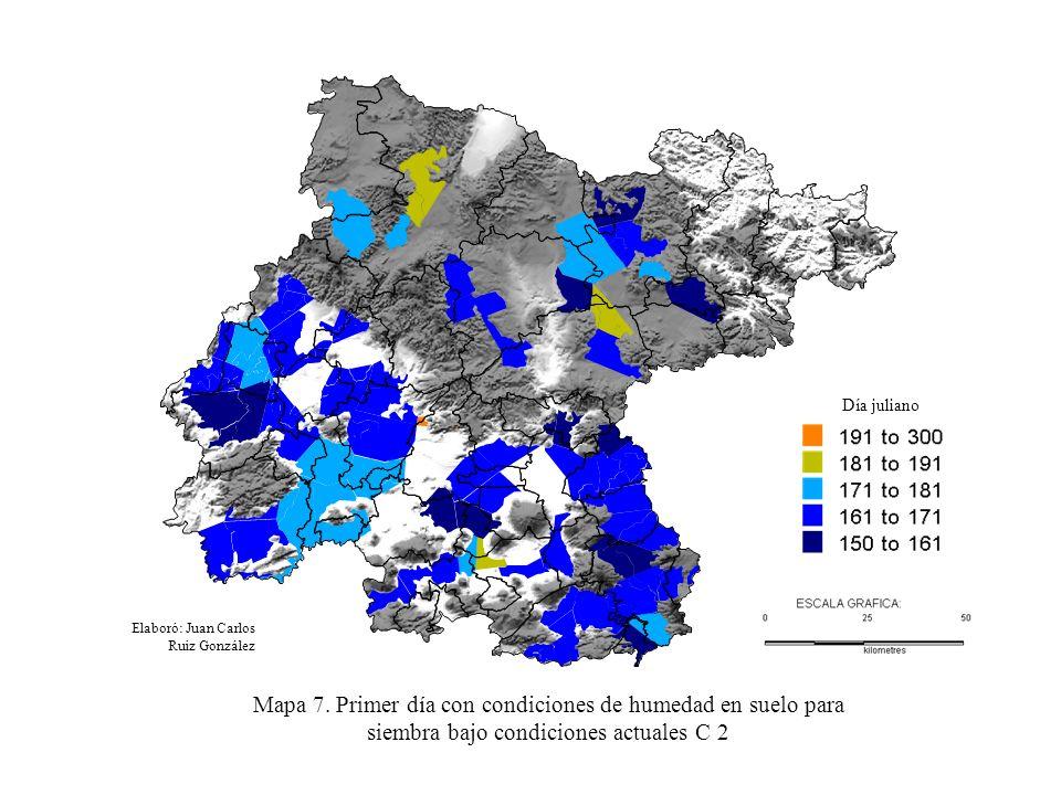 Elaboró: Juan Carlos Ruiz González Mapa 7. Primer día con condiciones de humedad en suelo para siembra bajo condiciones actuales C 2 Día juliano