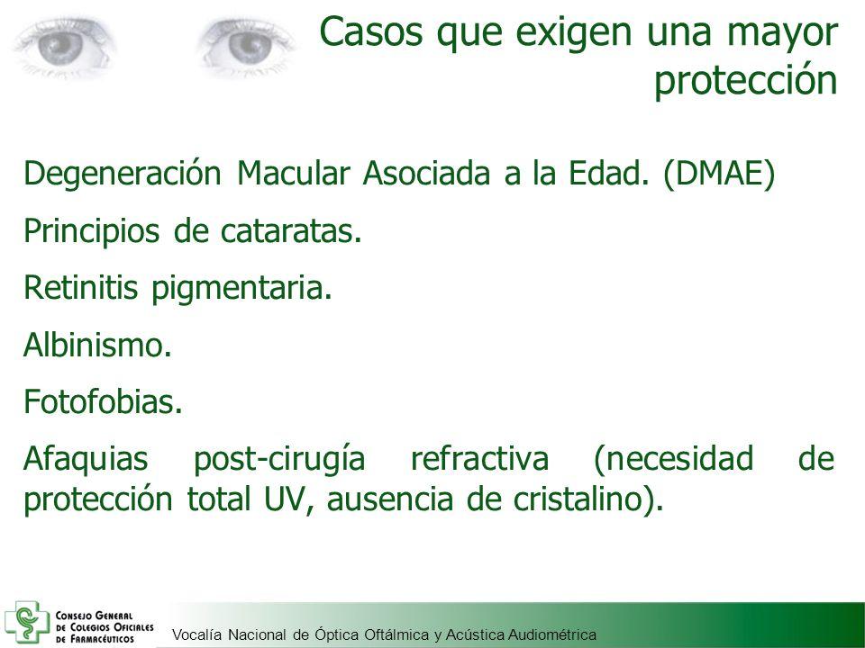 Vocalía Nacional de Óptica Oftálmica y Acústica Audiométrica Casos que exigen una mayor protección Degeneración Macular Asociada a la Edad. (DMAE) Pri