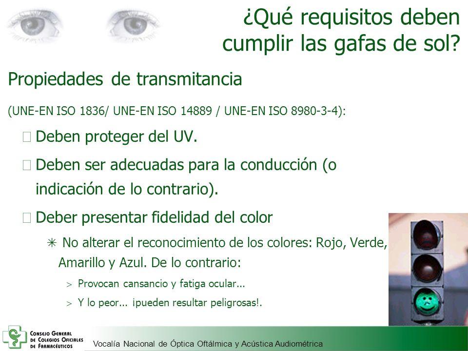 Vocalía Nacional de Óptica Oftálmica y Acústica Audiométrica ¿Qué requisitos deben cumplir las gafas de sol? Propiedades de transmitancia (UNE-EN ISO