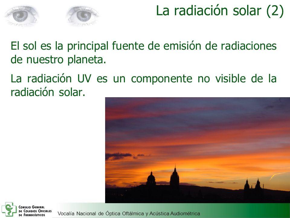 Vocalía Nacional de Óptica Oftálmica y Acústica Audiométrica La radiación solar (2) El sol es la principal fuente de emisión de radiaciones de nuestro