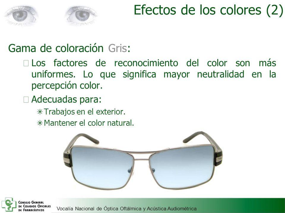 Vocalía Nacional de Óptica Oftálmica y Acústica Audiométrica Gama de coloración Gris: Los factores de reconocimiento del color son más uniformes. Lo q