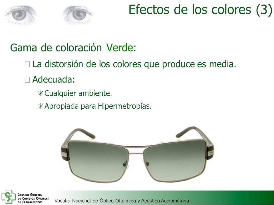 Vocalía Nacional de Óptica Oftálmica y Acústica Audiométrica Gama de coloración Verde: La distorsión de los colores que produce es media. Adecuada: Cu