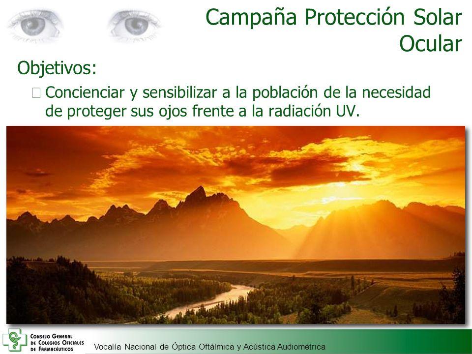 Vocalía Nacional de Óptica Oftálmica y Acústica Audiométrica Campaña Protección Solar Ocular Objetivos: Concienciar y sensibilizar a la población de l