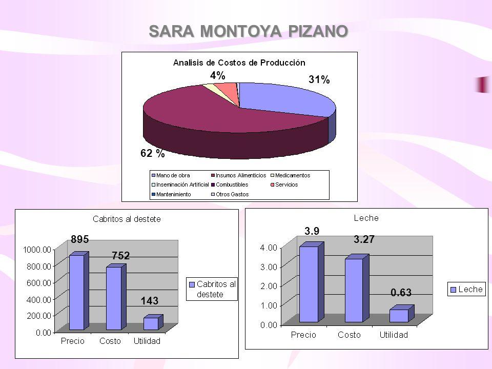 SARA MONTOYA PIZANO 62 % 31% 4% 3.9 3.27 0.63 895 752 143