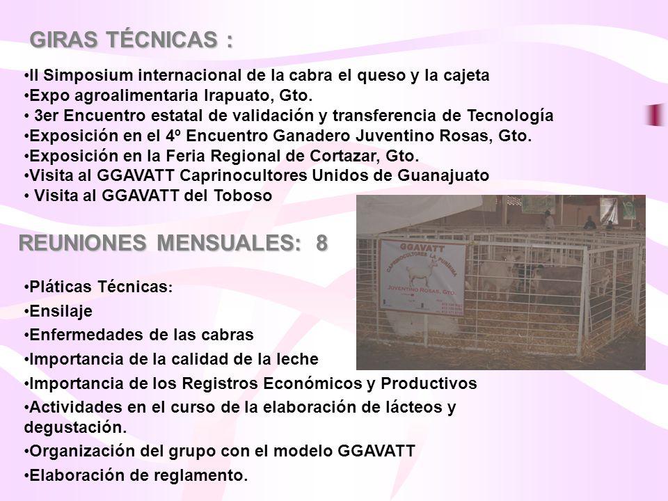 REUNIONES MENSUALES: 8 GIRAS TÉCNICAS : II Simposium internacional de la cabra el queso y la cajeta Expo agroalimentaria Irapuato, Gto. 3er Encuentro