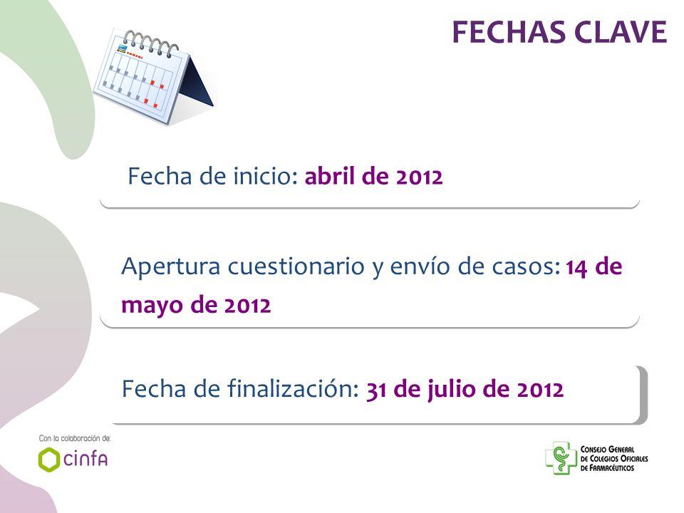 Fecha de inicio: abril de 2012 Apertura cuestionario y envío de casos: 14 de mayo de 2012 Fecha de finalización: 31 de julio de 2012