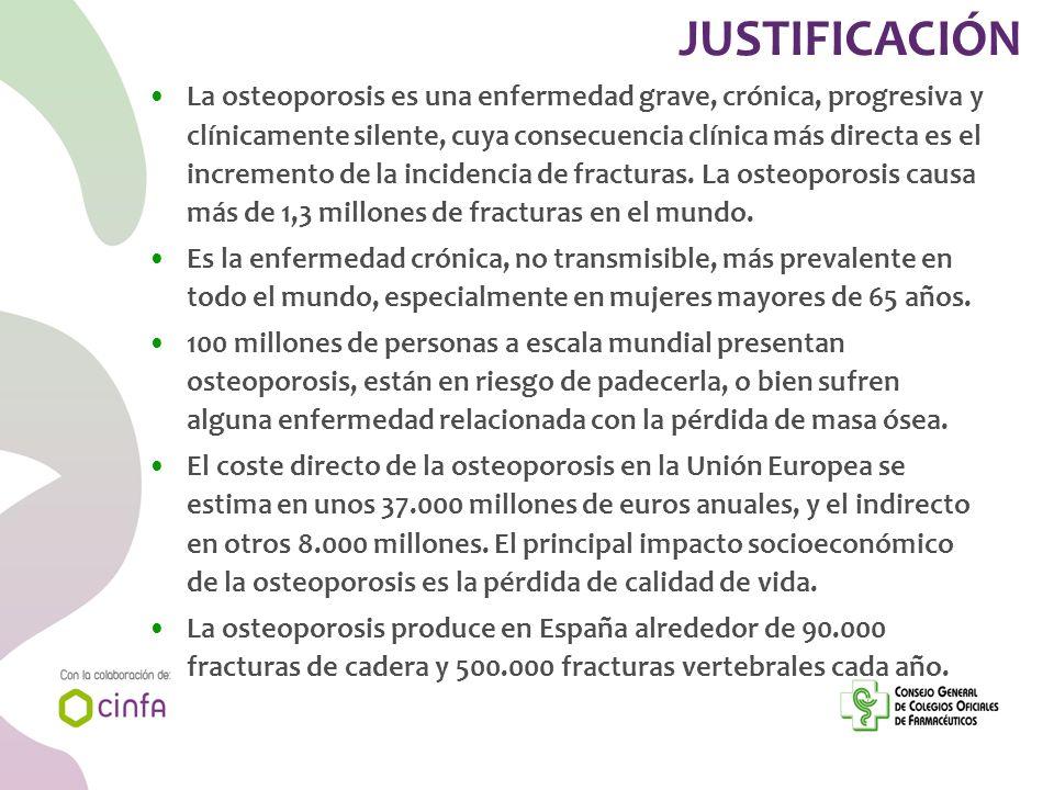 JUSTIFICACIÓN La osteoporosis es una enfermedad grave, crónica, progresiva y clínicamente silente, cuya consecuencia clínica más directa es el increme