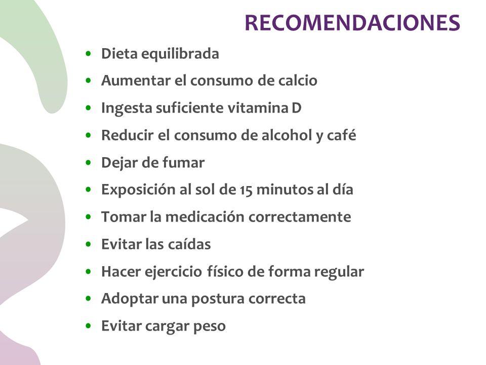 Dieta equilibrada Aumentar el consumo de calcio Ingesta suficiente vitamina D Reducir el consumo de alcohol y café Dejar de fumar Exposición al sol de