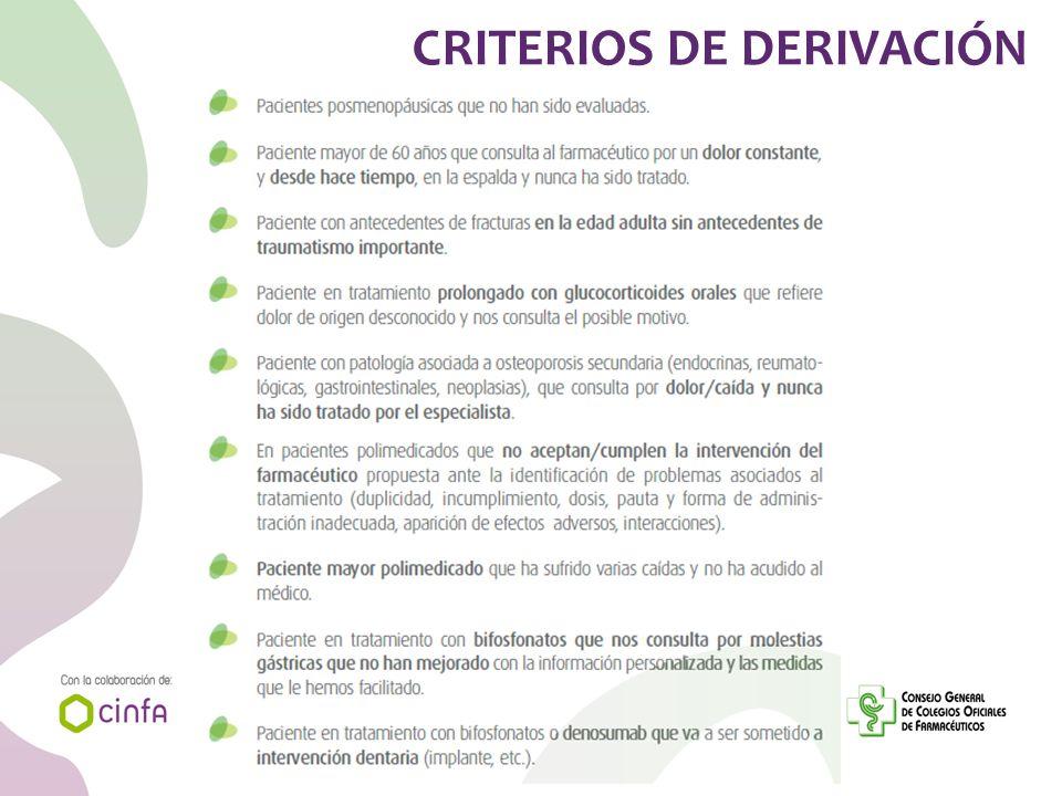 CRITERIOS DE DERIVACIÓN