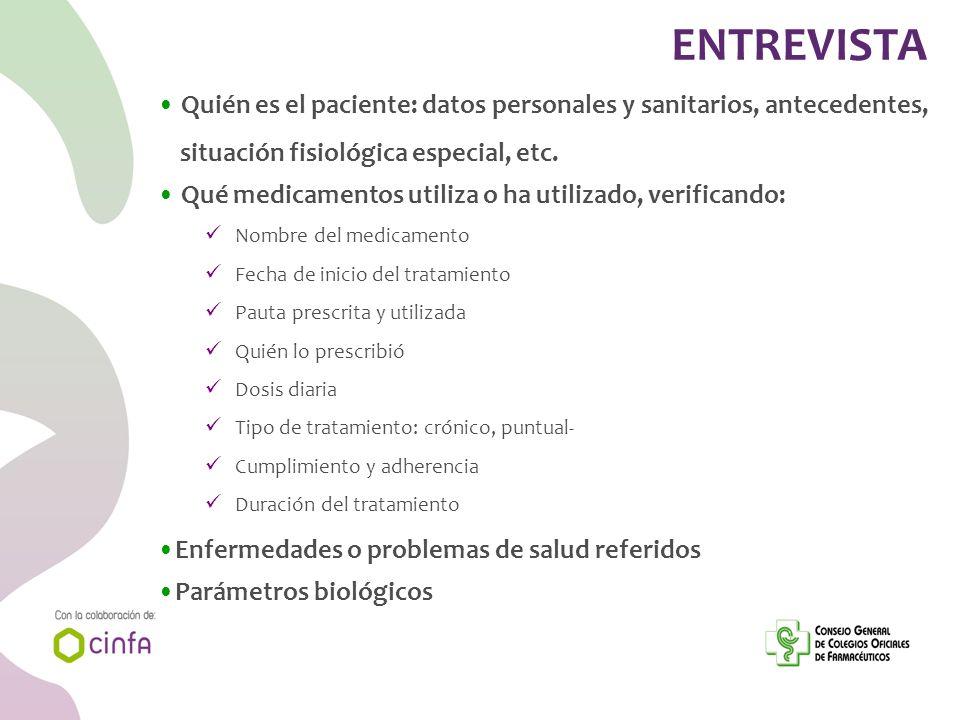 ENTREVISTA Quién es el paciente: datos personales y sanitarios, antecedentes, situación fisiológica especial, etc. Qué medicamentos utiliza o ha utili