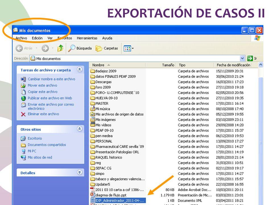 EXPORTACIÓN DE CASOS II